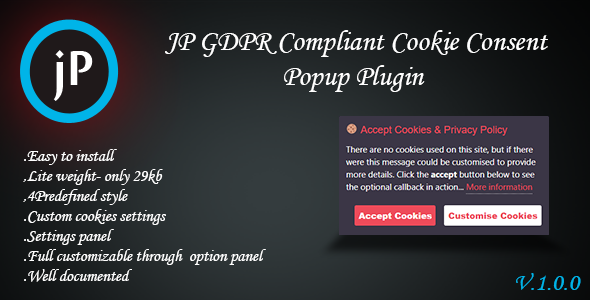 JP GDPR Compliant Cookie Consent Popup Plugin